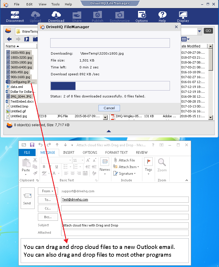 Drag and drop cloud files to MS Outlook from DriveHQ FileManager