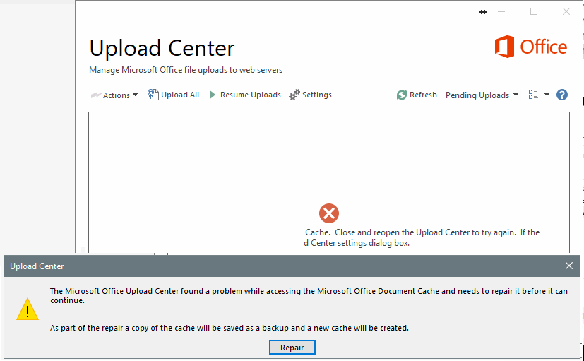 MS Office UploadCenter document cache corruption error